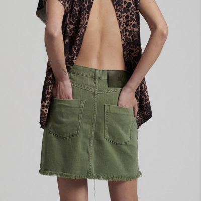 Viper Super Khaki Skirt ONE TEASPOON