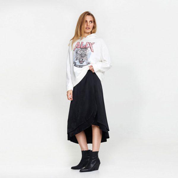 Woven satin skirt