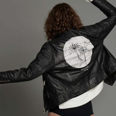 Midnight Paradise leather moto jacket ONETEASPOON