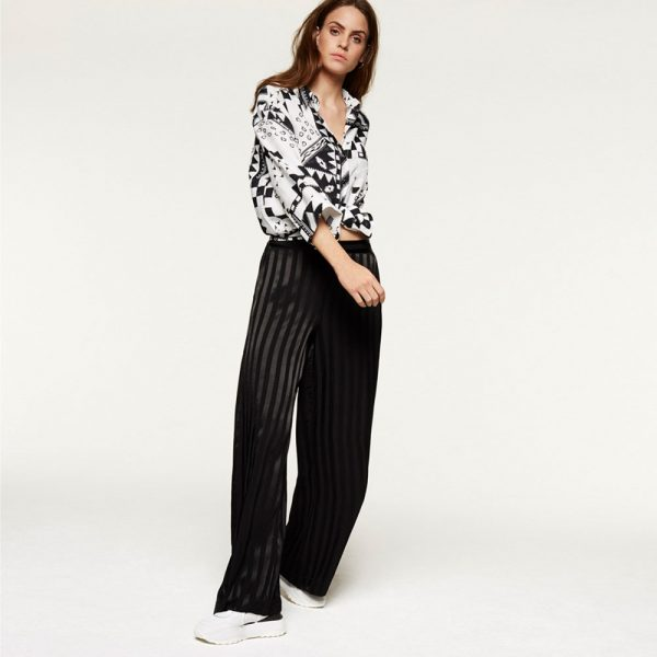 Woven stripe viscose pants