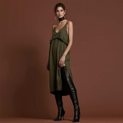 Khaki Tyler Ruffle Dress ONE TEASPOON