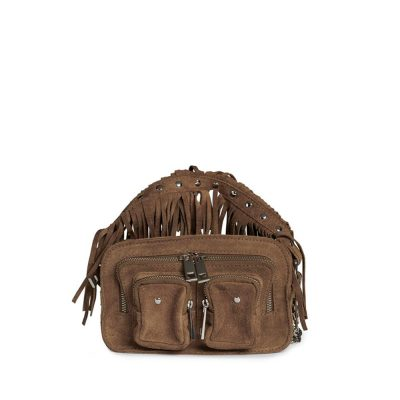 Helena camel suede bag with fringes